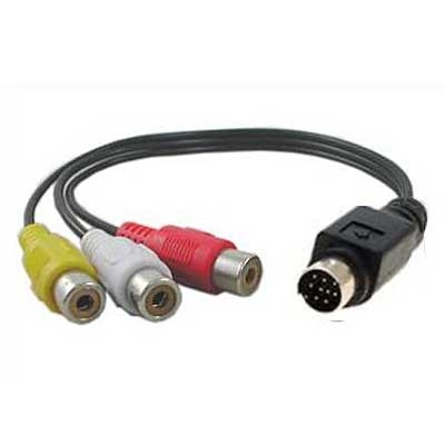 CABLE S-VIDEO 9PIN MACHO A 3 RCA HEMBRA  0,10MTS