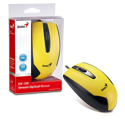 MOUSE OPTICO USB 1200 DPI GENIUS DX-100 AMARILLO