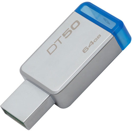 PENDRIVE  64GB USB 3.0 KINGSTON DT50 PLATA/AZUL