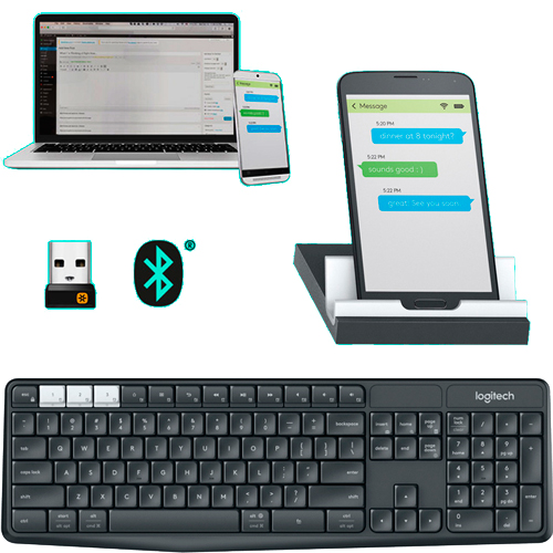 TECLADO+BASE BLUETOOTH UNIFYING MULTIDISPOSIT LOGITECH K375s
