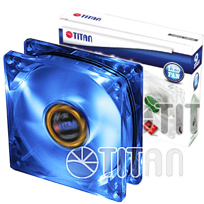 FAN  92MM 3PIN TITAN TFD-9225GT12Z/LD2 LED AZUL 1200RPM RULEM