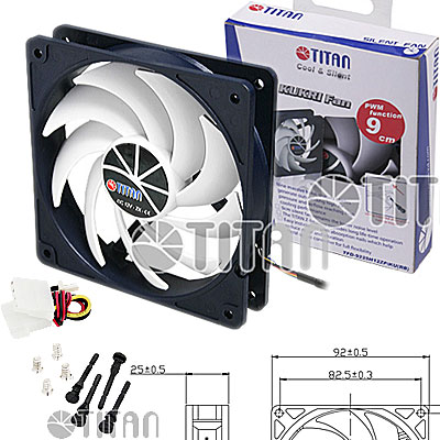 FAN  92MM 3PIN TITAN TFD-9225M12Z/KU(RB) S/LUZ 2500RPM RULEM