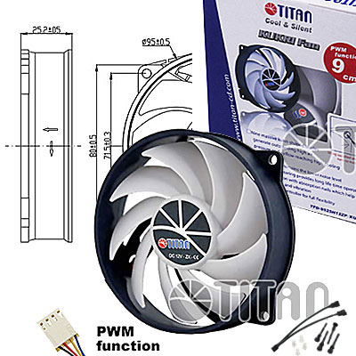 FAN 95mm 4PIN PWM 3000RPM RULEMAN TITAN (Idem código 1308004)