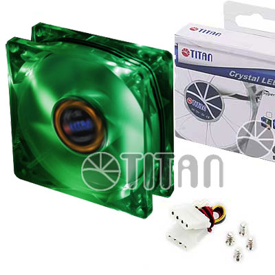 FAN 80mm LUZ LED VERDE 3PIN+ADPT 2000RPM RULEMAN TITAN