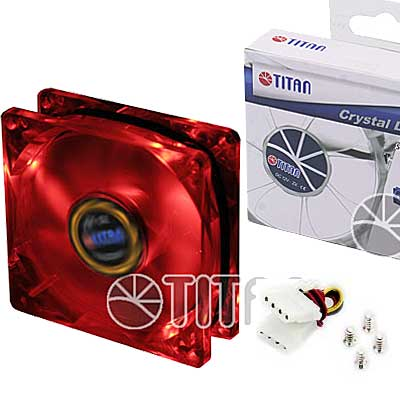FAN 80mm LUZ LED ROJO 3PIN+ADPT 2000RPM RULEMAN TITAN