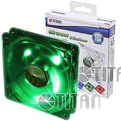 FAN 120MM 4PIN TITAN 12025GT12ZLD3 LED VERDE 1000RPM RULEM