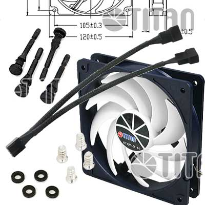 FAN 120MM 4PIN TITAN 12025H12ZP/KU(RB) S/LUZ 2200RPM RULEM