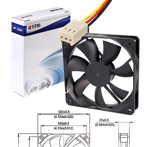 FAN 120MM 3PIN TITAN 12025M12C S/LUZ 2000RPM RULEM+BUJE