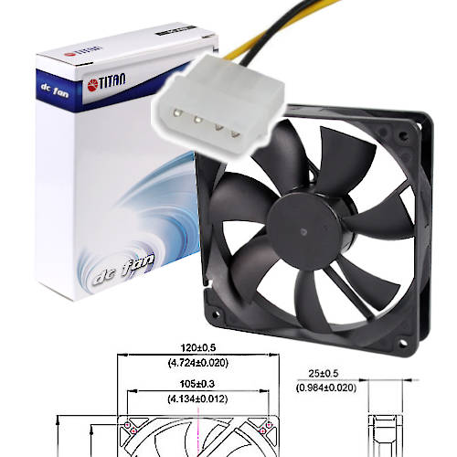 FAN 120mm MOLEX 25mm ESPESOR 2000RPM BUJE TITAN