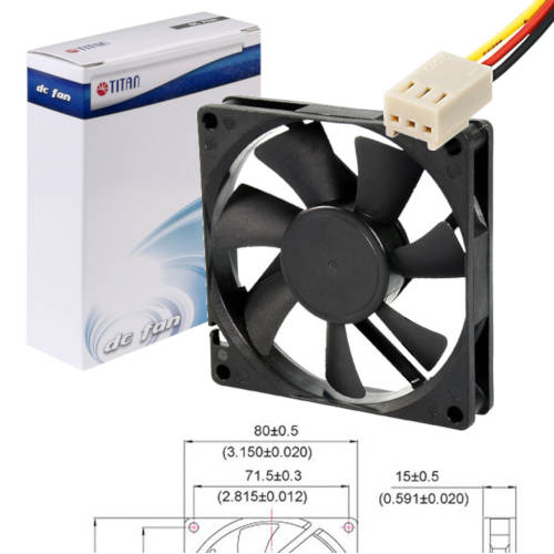 FAN 80mm 3PIN 15mm ESPESOR 2500RPM BUJE TITAN