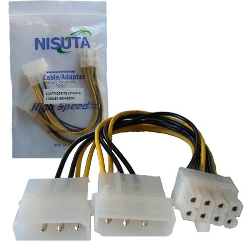 CABLE POWER MOLEX 4PIN MACHx2 A MOTHERBOARD 8 PIN NISUTA