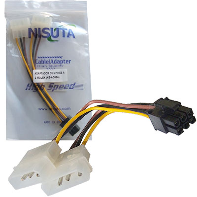 CABLE POWER MOLEX 4PIN MACHx2 A CONECTOR PCI-E 6 PIN NISUTA