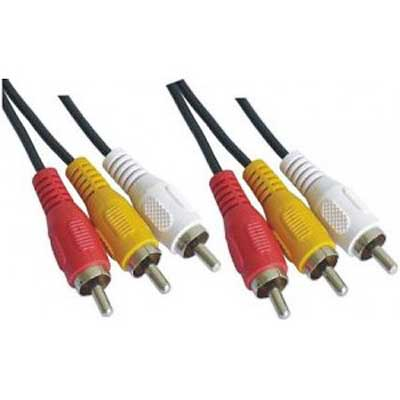 CABLE RCA  TRIPLE MACHO-MACHO  1,8 MTS ESTANDAR