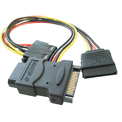 CABLE SATA POWER (SATA MACHO A 1 SATA HEMBRA + 2 MOLEX HEMB)
