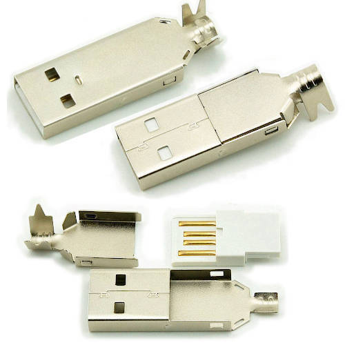 CONECTOR FICHA USB 2.0 A MACHO A CABLE METAL