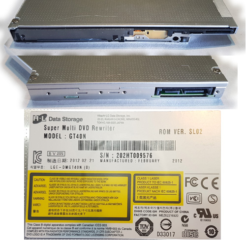 GRABADORA DVD SLIM 12,7mm SATA HITACHI-LG GT40N S/FRENTE